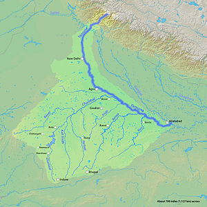 English: Map of the Yamuna River, a tributary ...