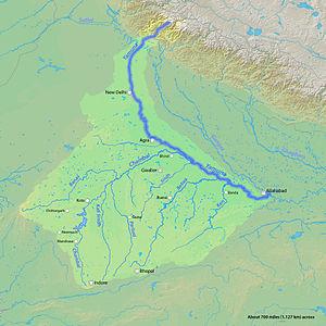 Sindh River - Image: Yamunarivermap