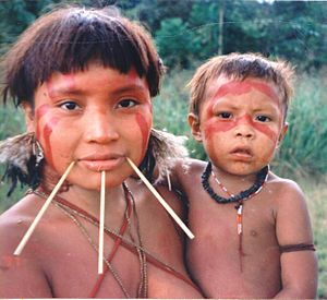 Mongoloid - South American Yanomami woman and child from the Amazon rainforest