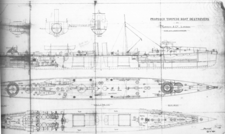 Builders' plans for the British Charger class, built 1894-95. Yarrow plan.png