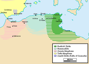 Zirid dynasty - The Zirid realm (dark green) after the secession of the Hammadids (1018) and before the influx of Banu Hilal tribes (1052)