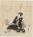 Zittende vrouw in zwarte kimono-Rijksmuseum RP-P-1991-470.jpeg