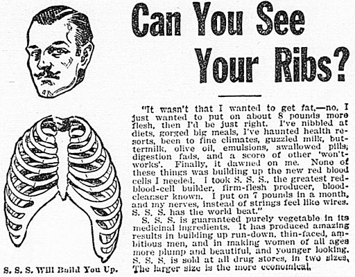 """Can You See Your Ribs?"" (SSS patent medicine advertisement)"
