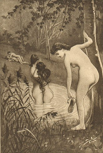 United States obscenity law - The 18th century book Fanny Hill has been subject to obscenity trials at various times (image: plate XI: The bathing party; La baignade)