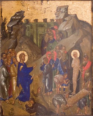 Воскрешение Лазаря. Византийская икона. Конец XIV— начало XV века. Государственный Русский музей