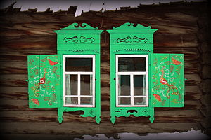 Zaigrayevsky District - Window decorations of a Semeiskie (Old Believers) house in the selo of Novaya Bryan in Zaigrayevsky District
