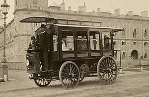 Hippolyte Romanov - First electric omnibus by Hyppolyte Romanov in Gatchina
