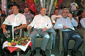 Serzh Sargsyan - Russian President Vladimir Putin, Ilham Aliyev and Serzh Sargsyan in Sochi, 9 August 2014