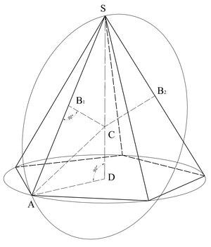 Пирамида геометрия Википедия Описание сферы вокруг правильной пирамиды sd высота пирамиды ad радиус окружности описывающей основание В середина ребра боковой грани