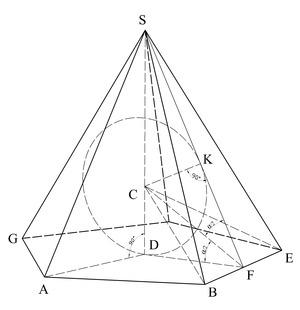 Пирамида геометрия Википедия Сфера вписанная в правильную пирамиду d центр основания sf апофема asd биссекторная плоскость угла между боковыми гранями