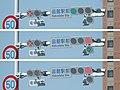 薄型LED式路面電車用信号機(3枚合成、上から青信号・青×印、赤信号・赤×印、赤信号。黄色矢印)電車専用信号として別設置.jpg