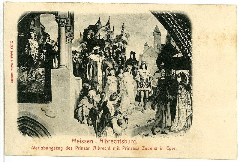 File:02133-Meißen-1901-Albrechtsburg, Verlobung des Prinzen Albrecht-Brück & Sohn Kunstverlag.jpg