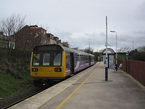 Blackpool South railway station - A Class 142 ''Pacer'' unit waits to depart with a service to Rochdale in 2012