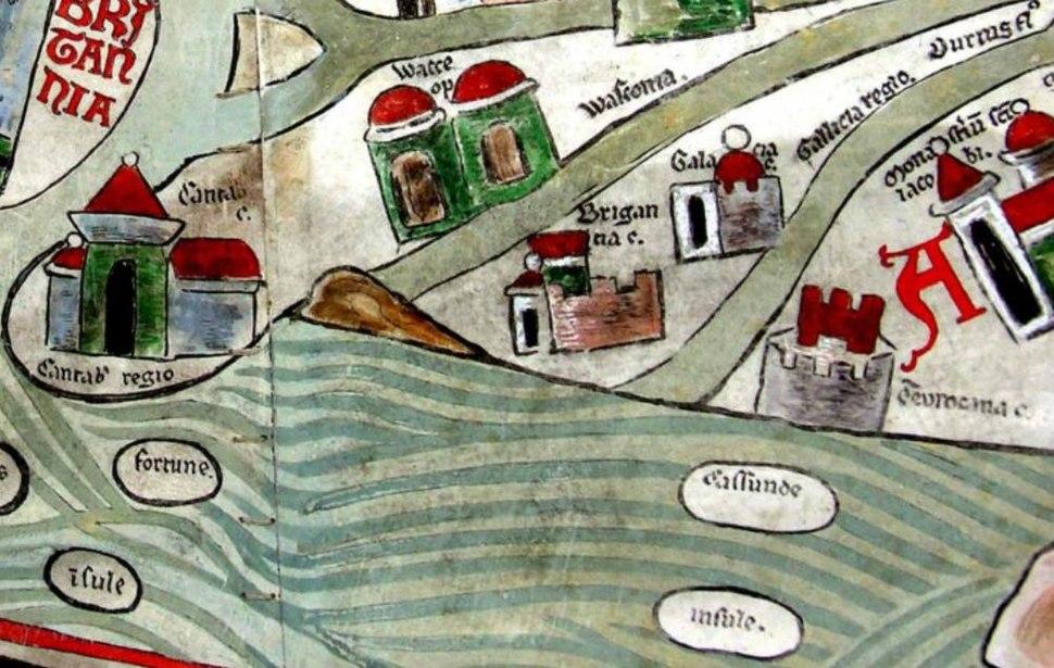 Detalle do noroeste da península ibérica no mapa do mosteiro de Ebstorfer onde se aprecia o nome de Gallicia Regio. Ano 1234.