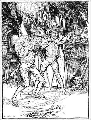 The Cask of Amontillado - Fortunato and Montresor drink in the catacombs. 1935 Illustration by Arthur Rackham