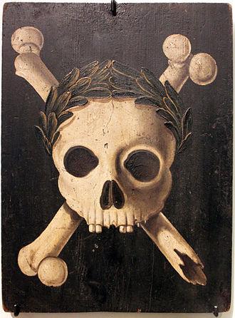 Skull and crossbones (symbol) - Image: 1607 35 Pesttafel Augsburg anagoria