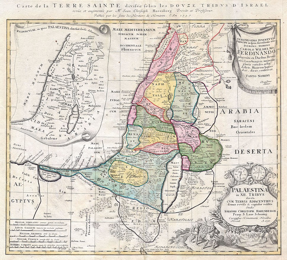 1750 Homann Heirs Map of Israel - Palestine - Holy Land (12 Tribes) - Geographicus - Palestina-homannheirs-1750