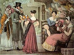 Estilos de moda em 1822.
