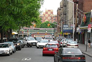 University Heights, Bronx - Looking east on 183d to 183rd Street (IRT Jerome Avenue Line) from Croton Aqueduct three blocks away