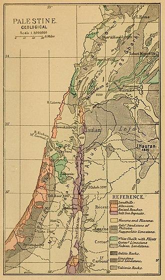 Batanaea - Image: 1889 Palestine, geological
