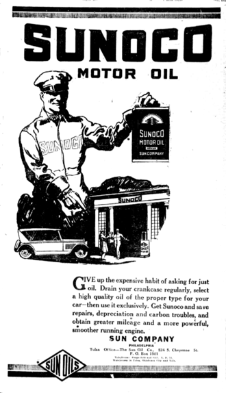 Sunoco - Newspaper ad for Sunoco motor oil, then known as Sun Oil Tulsa Daily World (November 1, 1922)