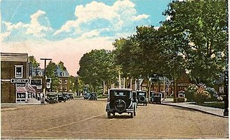 Fairfield, Connecticut - Post Road, in Fairfield Center, in a 1934 photo