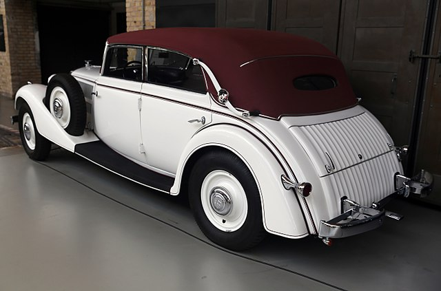 1936 Horch 830BL Cabriolet rear left, Classic Remise