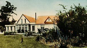 "Richard Barton - View of the Barton Manor in 1933. Caption underneath reads: ""The Manor House, Trentham, home of the Barton family from 1842""."