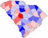 Red counties were won by Campbell and blue counties were won by Daniel
