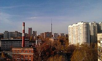 Alexeyevsky District, Moscow - Ostankinskaya tower, view from Malomoskovskaya street, Alexeyevsky District