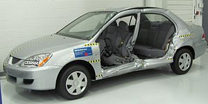 Crash-tested 2005 Mitsubishi Lancer photograph...