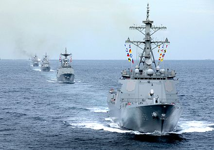 The Navy's first locally built AEGIS destroyer, ROKS Sejong the Great (DDG 991) in formation 2008nyeon9weol27il haegun sejongdaewanghamgidong(2) (7193823222).jpg