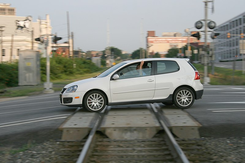File:2008-07-23 VW Golf crossing railroad in Durham.jpg