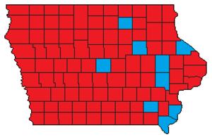 Iowa gubernatorial election, 2010 - Image: 2010 Iowa gubernatorial election results by county