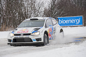 Sébastien Ogier and co-driver Julien Ingrassia during the 2014 Rally Sweden.