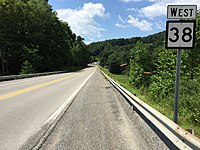2017-07-30 14 43 37 View west along West Virginia State Route 38 at West Virginia State Route 92 (Morgantown Pike) in Nestorville, Barbour County, West Virginia.jpg