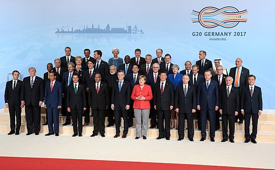 Prime Minister Lee Hsien Loong at the 2017 G20 meeting in Germany. Since 2010, Singapore has often been invited to participate in G20 processes.