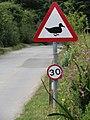 2018-08-12 Triangular duck crossing sign, Mill street, Gimingham (1).JPG