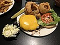 2019-04-25 23 38 18 A cheeseburger with onion rings at the Amphora Diner in Herndon, Fairfax County, Virginia.jpg