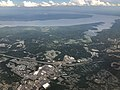 2019-07-22 15 52 47 View east across Garrisonville and Aquia Harbour towards the Aquia Creek and the Potomac River in eastern Stafford County, Virginia from an airplane heading for Washington Dulles International Airport.jpg