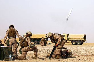 M252 mortar - Image: 24 MEU Deployment 2012, 81 mm mortars live fire 120731 M KU932 058