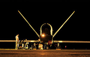 348th Reconnaissance Squadron - A deployed 348th Reconnaissance Squadron RQ-4 Global Hawk undergoes pre-flight checks before a mission in Southwest Asia.