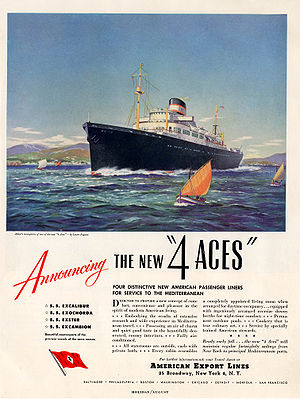 Four Aces (passenger liners) - American Export Lines magazine print ad (ca. 1948) announcing the new (post-war) 4 Aces