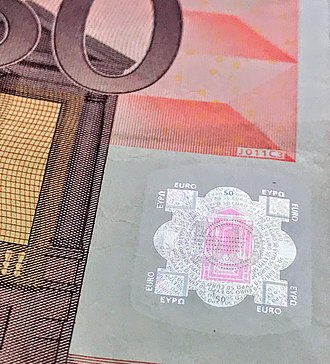 Security printing - A hologram on a 50 Euro banknote