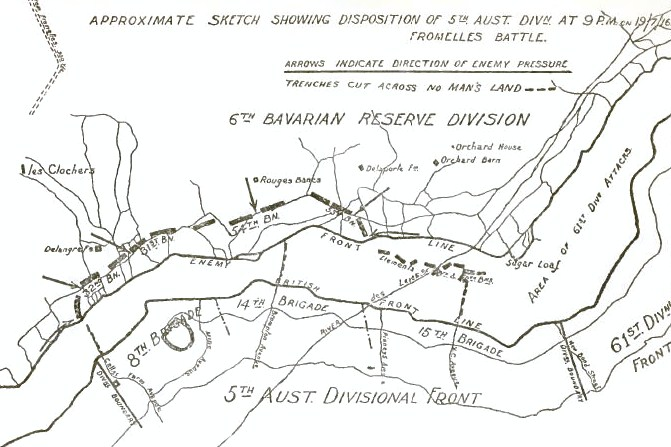 5th Australian Division positions during the Attack on Fromelles (on the Aubers Ridge), 19 July 1916