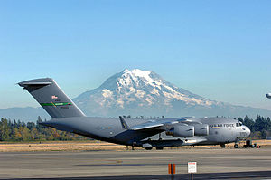 """62d Operations Group - Boeing C-17A Lot XI Globemaster III 99-0062 """"Spirit of the Hump"""" taxiing at McChord AFB"""