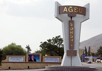 Agsu (city) - Road sign at the entrance to Aghsu city
