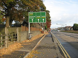 Transport in Leeds - Primary route A647 and segregated cycleway CS1 in Pudsey, West Yorkshire