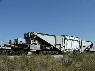 ABB Group - ABB Transformer in Iowa being transported by the Iowa Interstate Railroad.