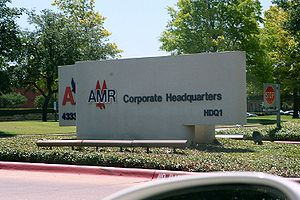The sign indicating the headquarters of AMR Co...